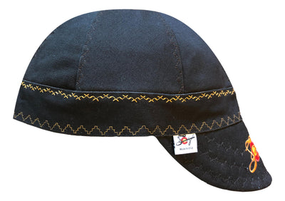 Black/Gold Size 7 1/2 Prewashed Canvas Embroidered Welders Cap