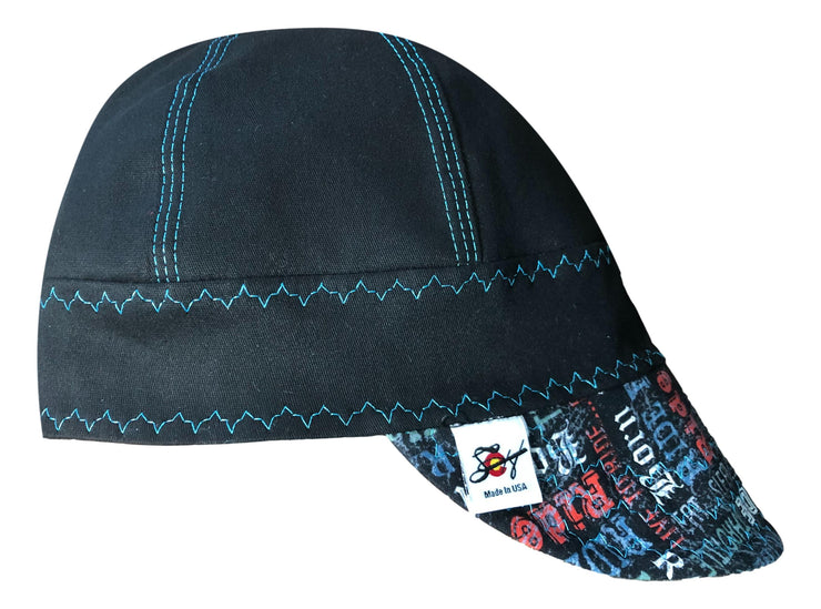 Black/Bright Blue Motorcycle Lingo #SoComfort Welders Cap W/FR Bill Custom Embroidery Now Available!