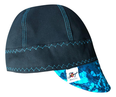 Black/Bright Blue Batik #SoComfort Welders Cap W/FR Bill Custom Embroidery Now Available!