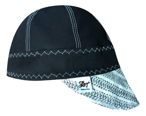 Black/White White Tire Tracks #SoComfort Welders Cap W/FR Bill Custom Embroidery Now Available!