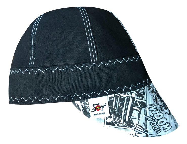 Black/White Comic #SoComfort Welders Cap W/FR Bill Custom Embroidery Now Available!