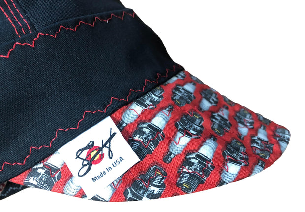 Black/Red Spark Plugs #SoComfort Welders Cap W/FR Bill Custom Embroidery Now Available!