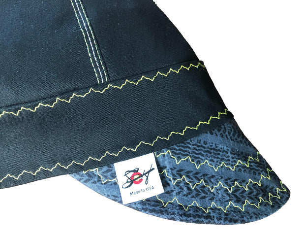 Black/Yellow Tire Tracks #SoComfort Welders Cap W/FR Bill Custom Embroidery Now Available!