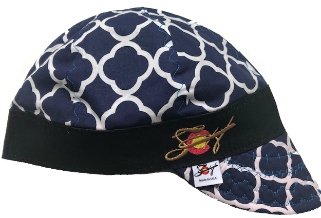 Blue Quatrefoil W/Gold Stitching  Embroidered Hybrid Welding Cap