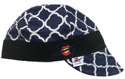 Blue Quatrefoil W/Bright Blue Stitching  Embroidered Hybrid Welding Cap