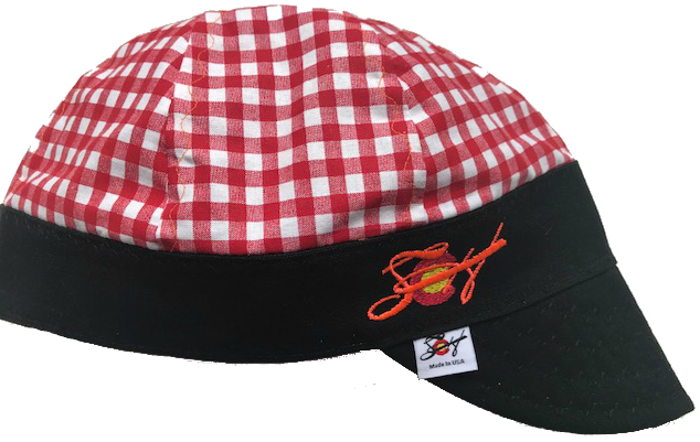Red Checked W/Blaze Orange Embroidered Logo Hybrid Welding Cap