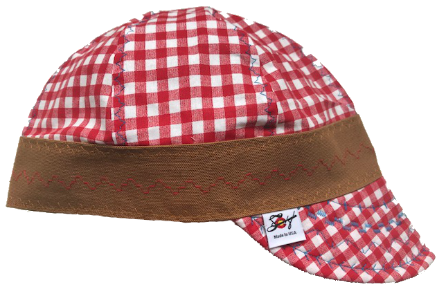 Red Checked W/Bright Blue Stitching Hybrid Welding Cap