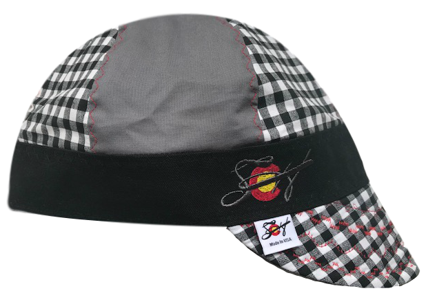 Mixed Panel Black Checkered Steel Embroidered Logo Hybrid Welders Cap