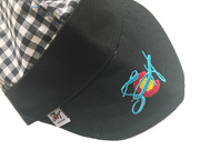 Black Checkered Bright Blue Logo Hybrid Welding Cap