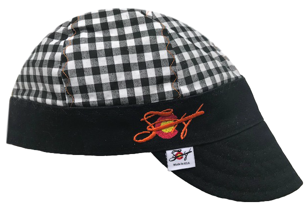 Black Checked W/Blaze Orange Embroidered Logo Hybrid Welders Cap