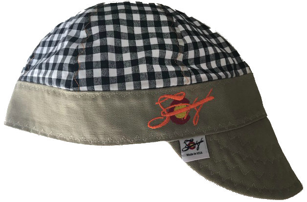Black Checkered Blaze Orange Embroidered Size 7 1/4 Hybrid Welding Cap