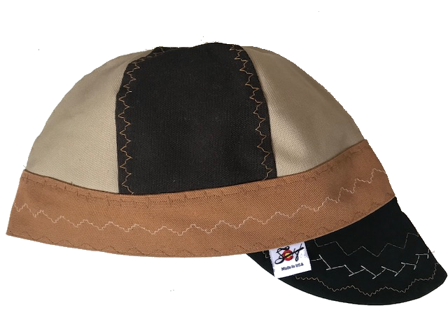 Tri-Color W/Chocolate Brown Leather Bill Canvas Size 7 1/2 Prewashed Welding Cap