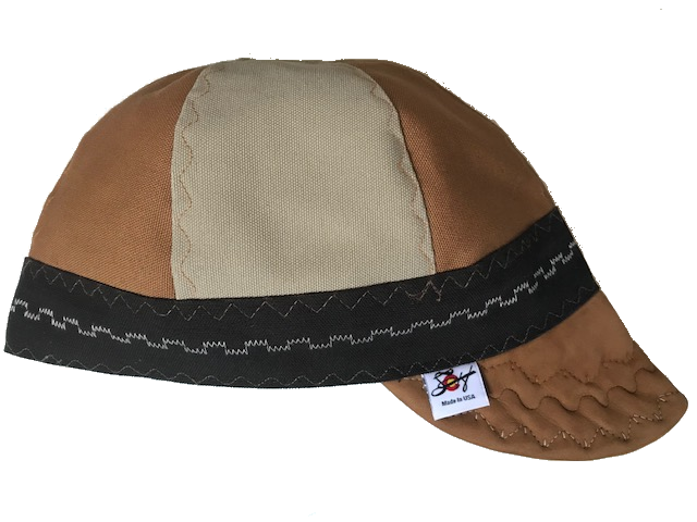 Tan Buttery Soft Leather Bill Tri-Color Canvas Size 7 1/2 Prewashed Welding Cap