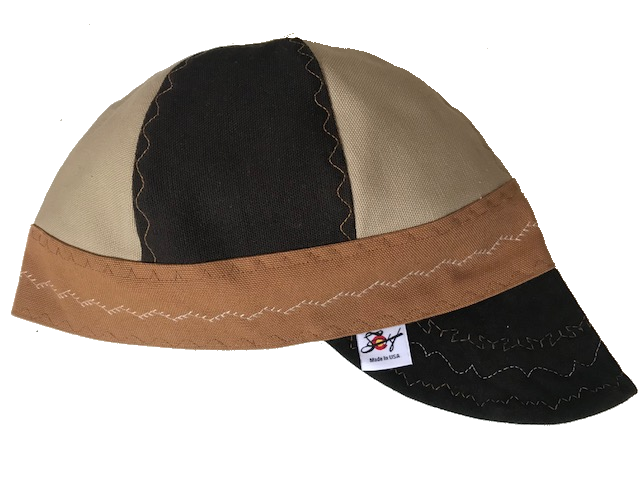 Chocolate Brown Leather Bill Tri-Color Canvas Size 7 1/2 Prewashed Welding Cap