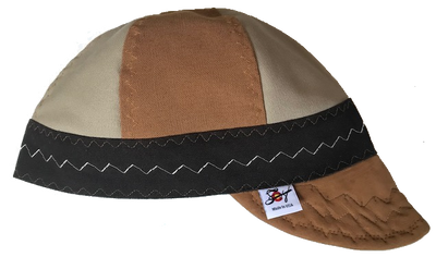 ✦BadAss✦ Brown  Leather Bill Tri-Color Canvas Size 7 1/2 Prewashed Welding Cap