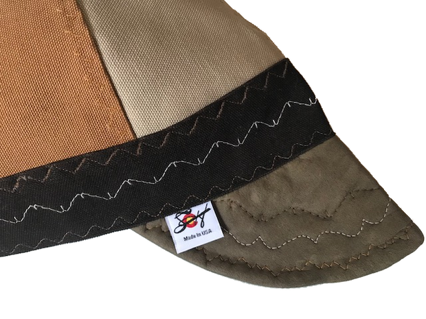 **SALE** $29.94 Olive Leather Bill Tri-Color Canvas Size 7 1/2 Prewashed Welders Cap