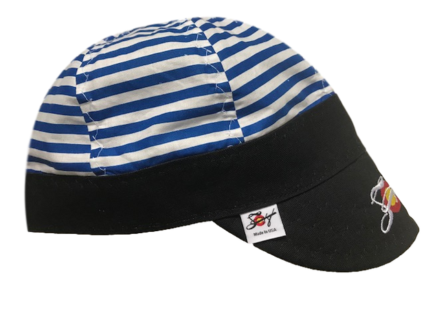 **Horizontal Stripes** Embroidered Size 7 1/4 Logo Hybrid Welding Cap