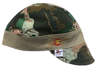 Deer Camo  Hybrid Welding Cap Embroidered Size 7 1/8