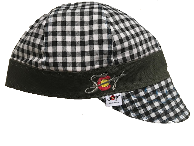 Silver Embroidered Black/White Checked Hybrid Welding Cap