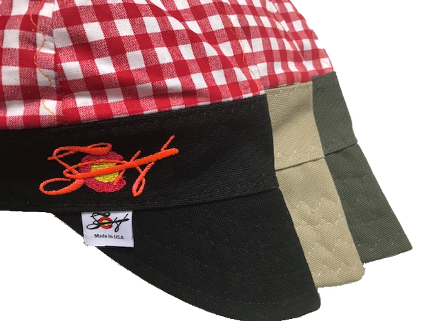 Red Checkered Blaze Orange Embroidered Hybrid Welding Cap⚡️Choose Your Color⚡️