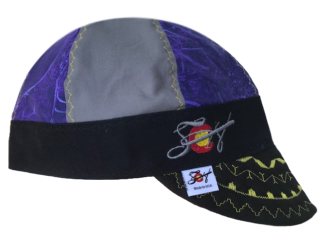 Purple Marble Mixed Panel Hybrid Welders Cap
