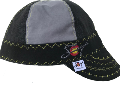 Black Swirled Mixed Panel *Choose your Canvas Color* Size 7 1/4 Hybrid Welding Cap
