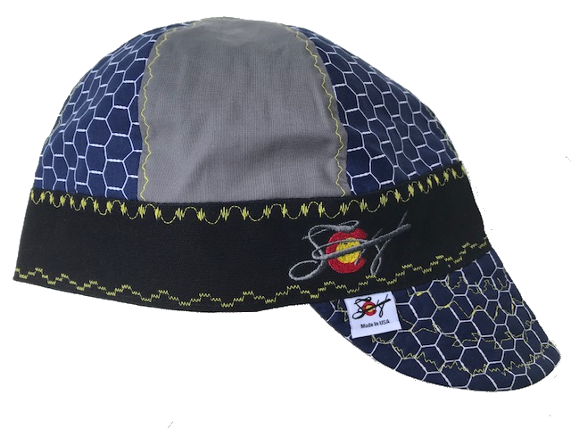 Navy & Grey Mixed Panels Hybrid Welding Cap Choose your band Color