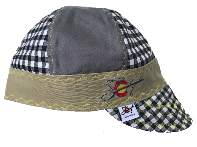Black Checkered & Grey Mixed Panels Hybrid Welding Cap