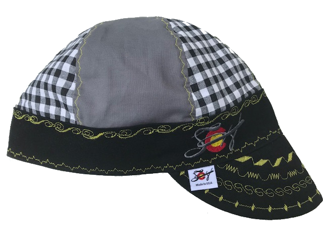 Black & Yellow Checkered Mixed Panel Hybrid Welding Cap