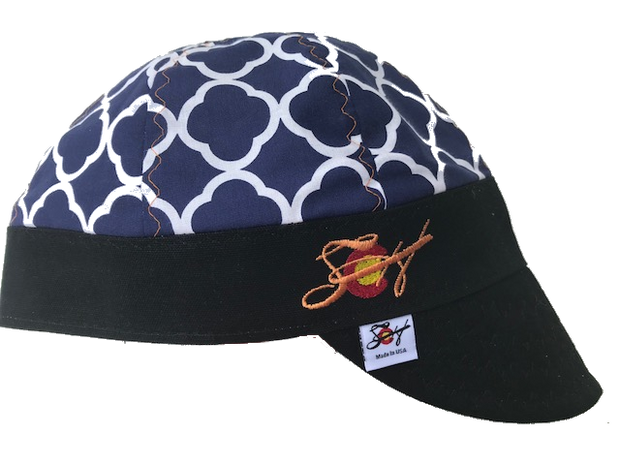 Navy Quatrefoil Embroidered Size 7 1/4 Hybrid Welding Cap Choose your Band Color