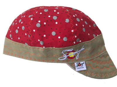🔴⚪️   Red Dotted 🔴⚪️ Embroidered Hybrid Size 7 1/4 Welding Cap