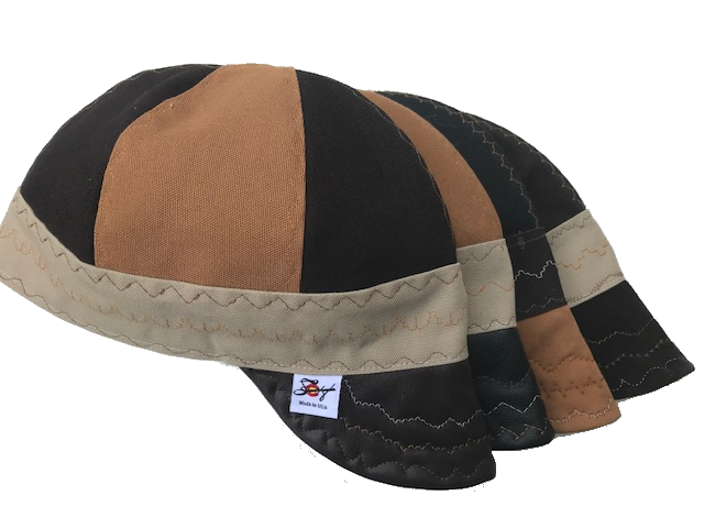"Leather Bill ""What The Flux"" Triple Color Size 7 1/4 Prewashed Canvas Welding cap"