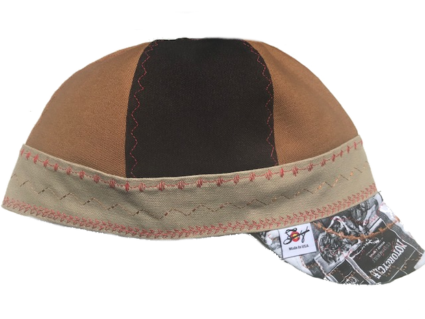 Tri-Color Canvas W/Old Time Motorcycle Print Bill Size 7 5/8 Prewashed Welding Cap