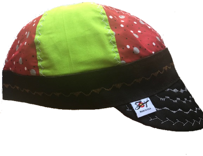 Neon & Red Polka Dot Mixed Panel Size 7 1/2 Hybrid Welding Cap