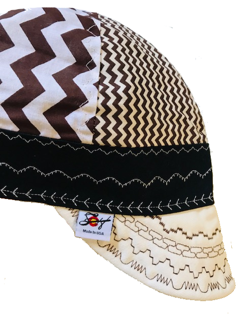 "Mixed Panel Brown Chevron ""Charlie Brown"" Inspired Hybrid Welding Cap"