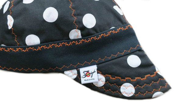 Black/Bright Orange Size 7 Hybrid Polka Dot Welding Cap