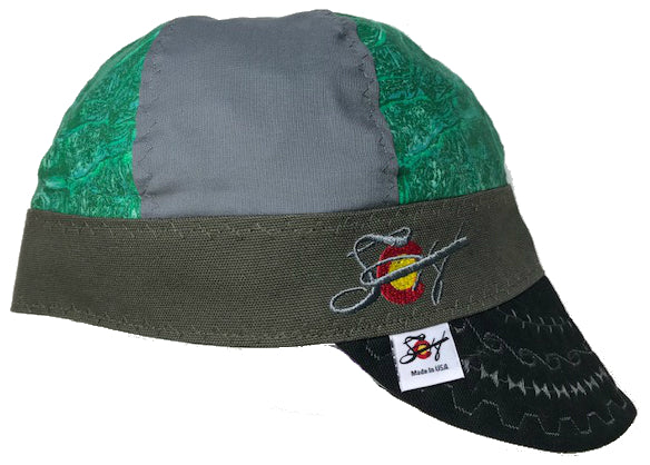 Green Marble Mixed Panel Size 7 Embroidered Hybrid Welding Cap