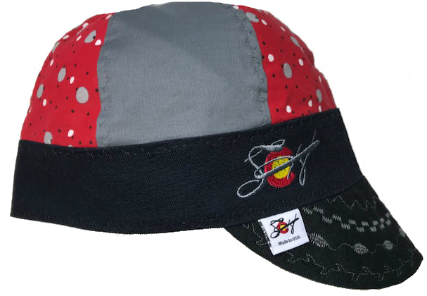Red Polka Dots 🔴 Mixed Panel Size 7 Embroidered Hybrid Welding Cap