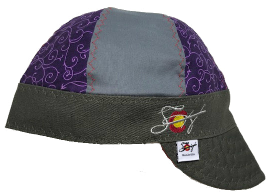 Purple Vines 🍇 Mixed Panel Size 7 Embroidered Hybrid Welding Cap