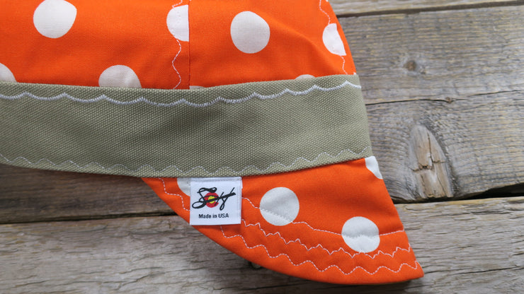 Safety Orange Polka Dot Size 7 Hybrid Welding Cap
