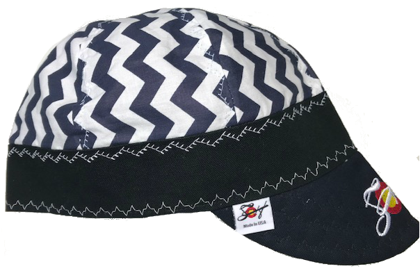 Blue Zig Zag 💨  Embroidered Hybrid Welding Cap Size 7 3/8