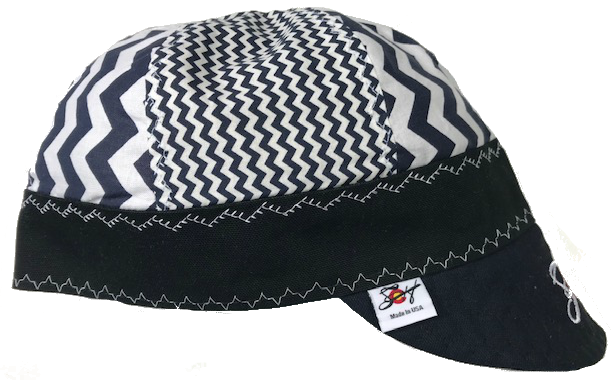 Mixed Panel Blue Zig Zag 💨  Embroidered Hybrid Welding Cap Size 7 3/8