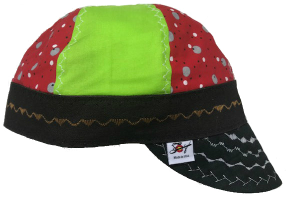 Lime Green & Red Polka Dot Size 7 3/8 Hybrid Welding Cap