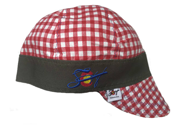 Bright Blue Embroidered Red Checkered Size 7 1/4 Hybrid Welding Cap