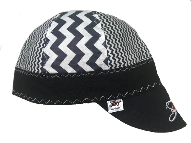 Mixed Panel Navy Chevron Embroidered Size 7 1/4 Hybrid Welding Cap