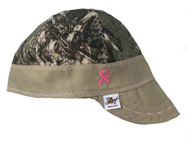 🎗️ Breast Cancer Awareness🎗️  Mossy Oak Camo w/ Pink Stitching Unlined Hybrid Welding Cap