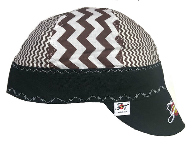 Chocolate 🍫 Stripe Mixed Panel Hybrid Size 7 3/8 Welding Cap