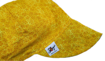 Bright Yellow Island Flowers Size 7 1/8 Cotton Welding Cap