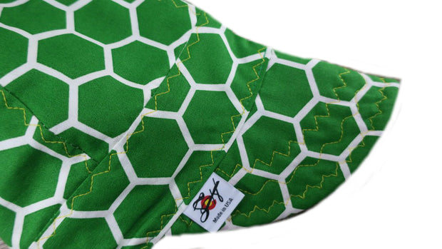 Green & White Honeycomb Size 7 1/2 Cotton Welding Cap