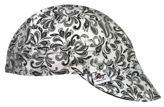 BadA$$ Black/White Paisley Print 100% Cotton Lined Welders Cap Size 7 1/2